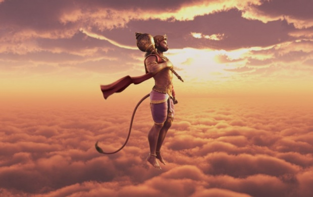 Lord Hanuman Flying (click to view)
