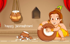 Lord Krishna Eating Butter Janmashtami