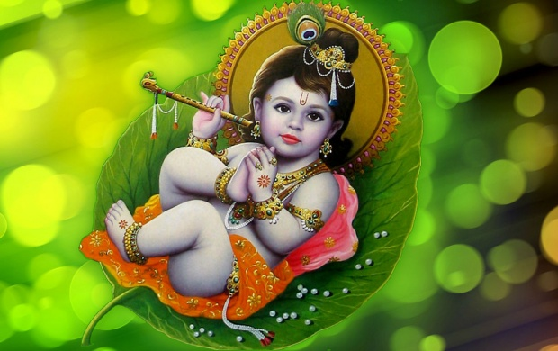 Lord Krishna On Leaf (click to view)