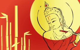 Lord Krishna With Red Background