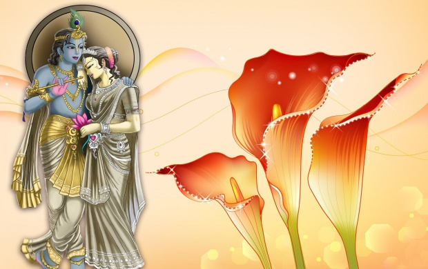 Lord Radha Krishna And Flowers (click to view)