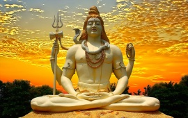 Lord Shiva And Sunset Sky