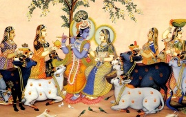 Lord Shri Krishna And Gopi