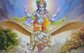 Lord Vishnu Sitting On Garuda