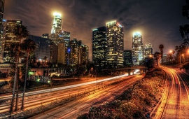 Los Angeles City Buildings Roads Night