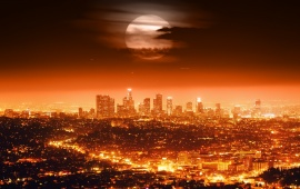 Los Angeles Skyline At Night California