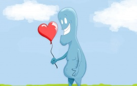 Love Balloon With Cartoon