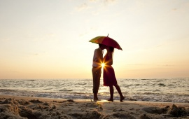 Love Couple Kissing In Umbrella