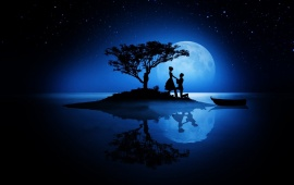 Love Couple Silhouettes Moon