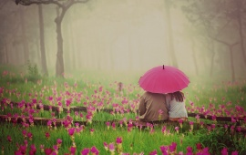 Love Couple With Pink Umbrella