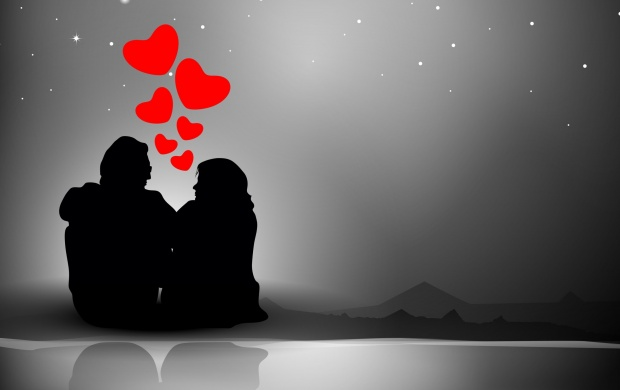 Love Heart Background With Couples (click to view)