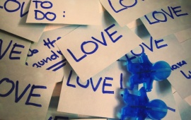 Love Words Blue On Paper