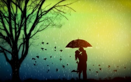 Lovers Romance Tree Rain