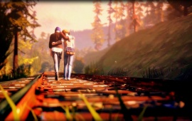 Lovers Walking on Railway