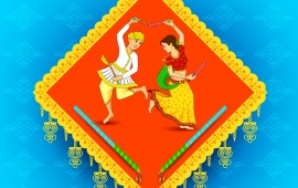 Man And Woman Dancing On Navratri
