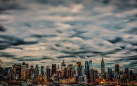 Manhattan City Skyline Buildings Clouds