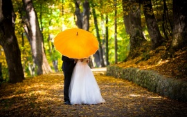 Married Couple Kissing In Umbrella