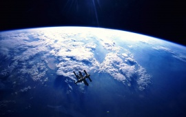 Mir In Orbit High Above The Earth