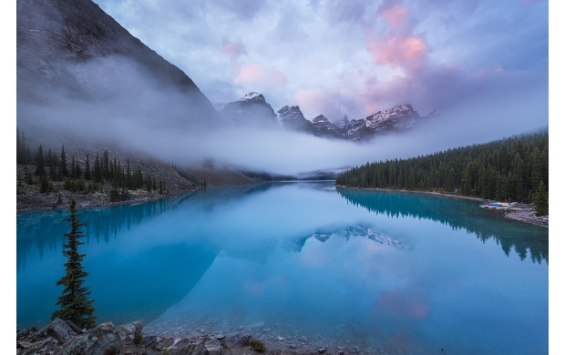 Mist And Blue Mountain Lake (click to view)