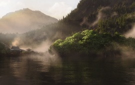 Mist On Mountain Lake