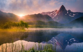 Misty Mountain Lake At Sunset