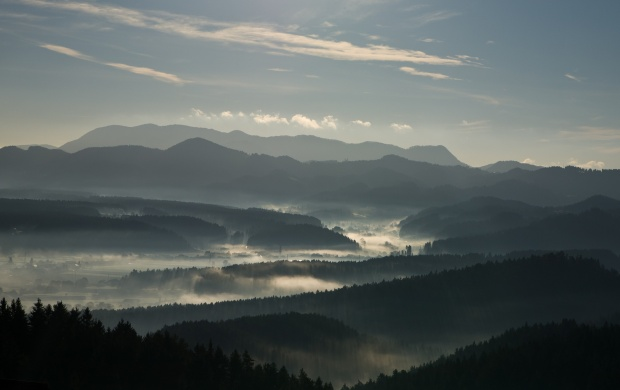 Misty Valley Seen From Above (click to view)