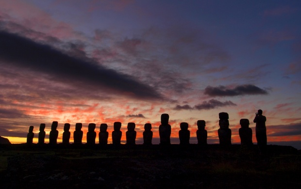 Moai At The Quarry Easter Island Chile (click to view)