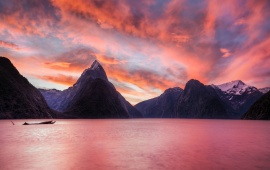 Mountain Lake Orange Sunset