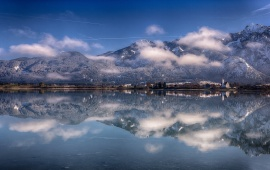 Mountain Lake Reflection In Winter