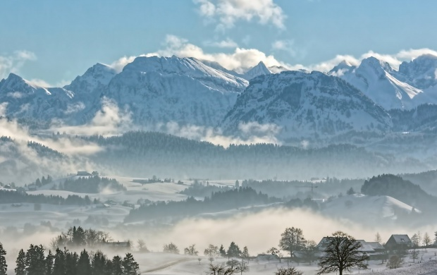 Mountain Range Covered in Snow (click to view)