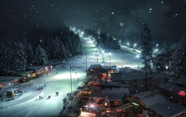 Mountain Resort At Night