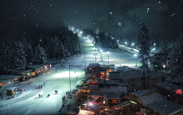 Mountain Resort At Night (click to view)