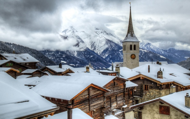 Mountain Village Covered In Snow (click to view)