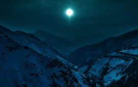 Mountains Valley Night Winter