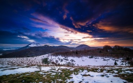 Mountains Winter Steppe Sunset