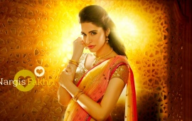 Nargis Fakhri In Orange Saree