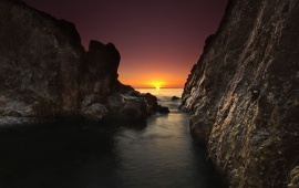 Nature Scenery Sea Dawn Rocks