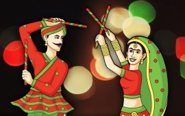 Navratri Couple Play Dandia