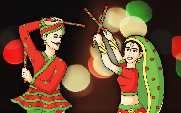 Navratri Couple Play Dandia (click to view)