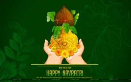 Navratri Kalash Green Background