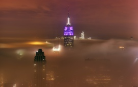 New York City And Fog