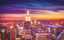 New York City Skyline At Sunset Dusk