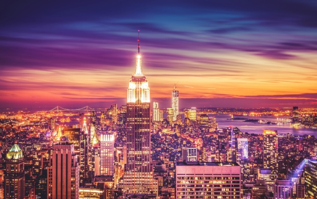 New York City Skyline At Sunset Dusk (click to view)