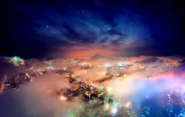 New York City Stars Clouds Night