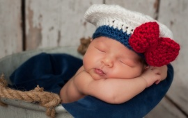 Newborn Baby In Sailor Girl Hat