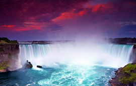 Niagara Falls and Purple Sky