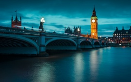 Night Big Ben And The Thames River England