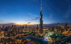 Night Dubai City Burj Khalifa Light