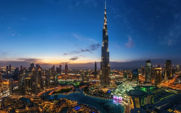 Night Dubai City Burj Khalifa Light (click to view)