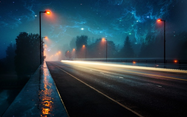 Night High-lane with Nebula Sky (click to view)